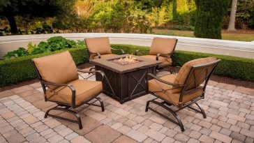 5 Piece Conversation Set with Tile-Top Fire Pit Table Patio dining set