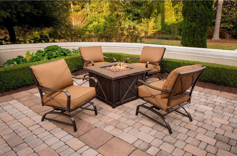 5 Piece Conversation Set with Tile-Top Fire Pit Table Patio dining set