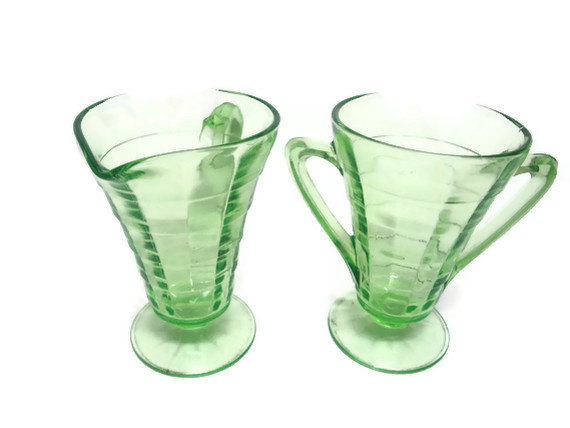 Depression Glass Green Deco Cream and Sugar Sets 2