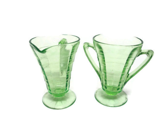 Depression Glass Green Deco Cream and Sugar Sets 3