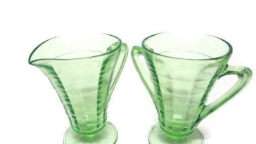 Depression Glass Green Deco Cream and Sugar Sets