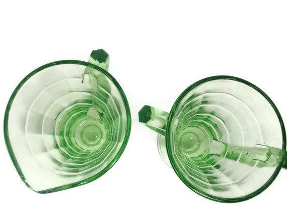 Depression Glass Green Deco Cream and Sugar Sets 4