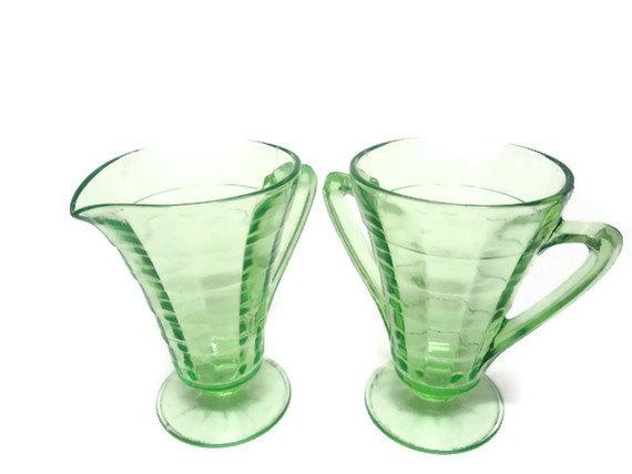 Depression Glass Green Deco Cream and Sugar Sets