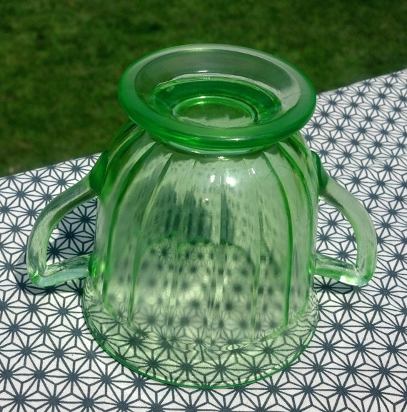 Depression Glass Green Paneled Tea Cup 2