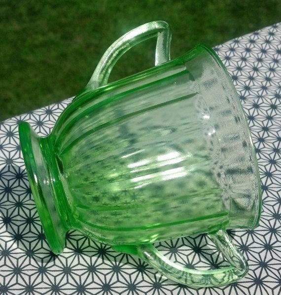 Depression Glass Green Paneled Tea Cup 3