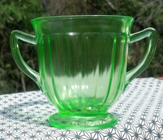 Depression Glass Green Paneled Tea Cup