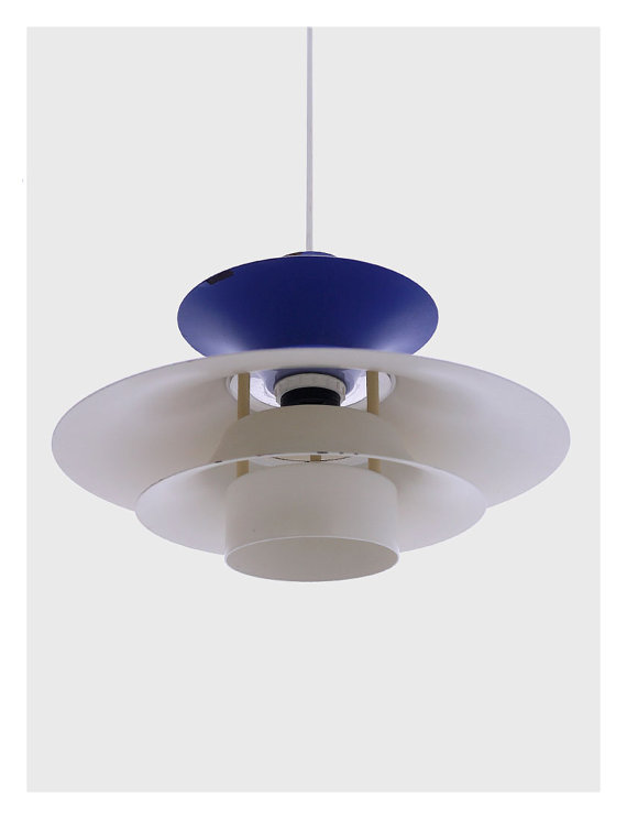 Modern Retro Blue Danish Hanging Lamp by Lyfa 3