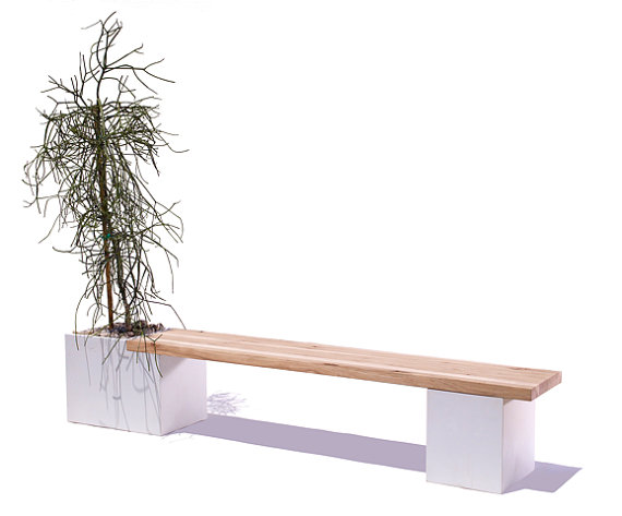 Wood Planter Bench Indoors 2
