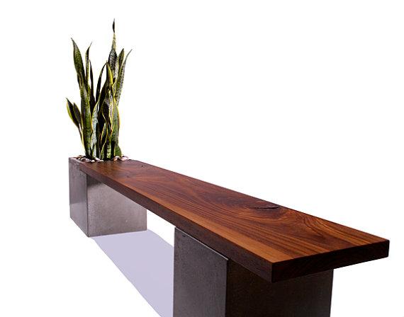 Wood Planter Bench Indoors 3