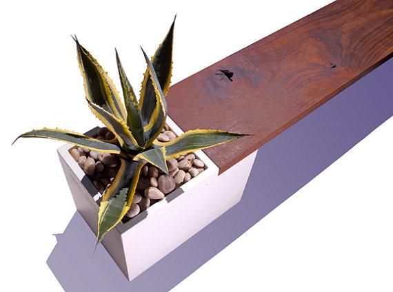 Wood Planter Bench Indoors 4