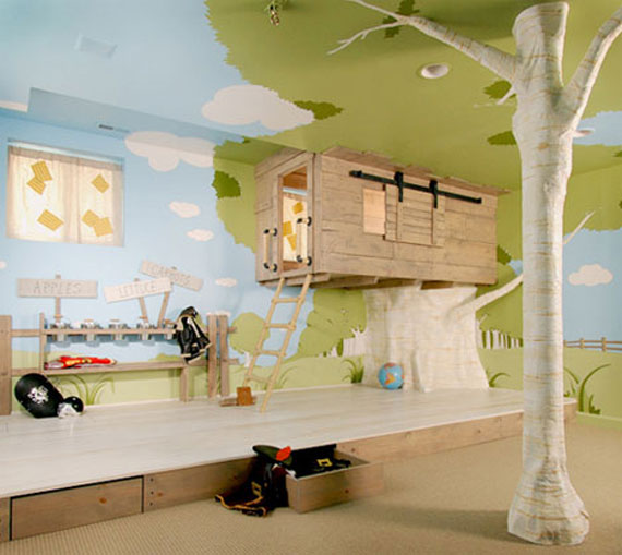 Kids Room Decoration Like Outdoor with Tree House