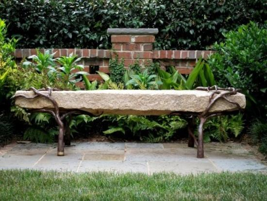 metal and stone benche in garden design