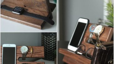 Large-WALNUT-Wallet-Model-B-Night-Stand-Oak-Wood-Valet-iPhone-Galaxy-Charging