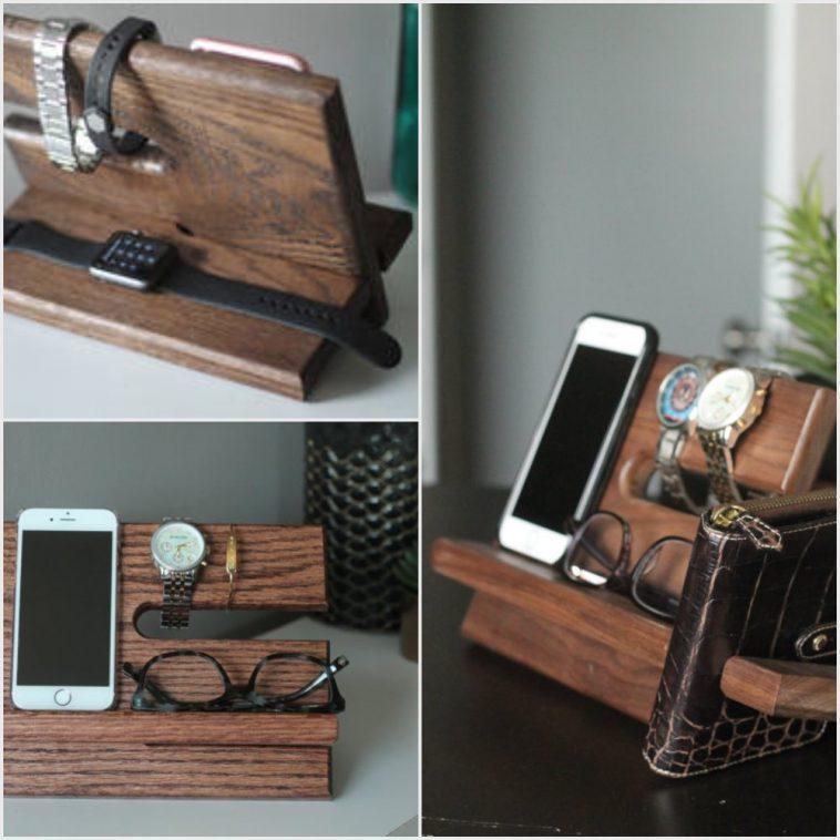 Large-WALNUT-Wallet-Model-B-Night-Stand-Oak-Wood-Valet-iPhone-Galaxy-Charging
