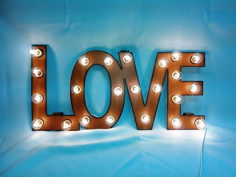 Love Marquee rusted rustic vintage light art for wall