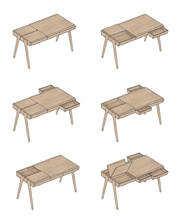 Metis Desk initial sketch and drawing for wewood furniture company