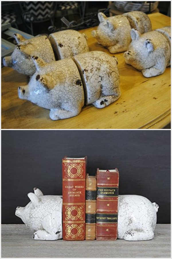 TerraCotta Pig Bookends antique white