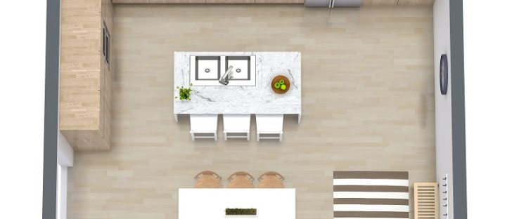 a small space kitchen design in 3d