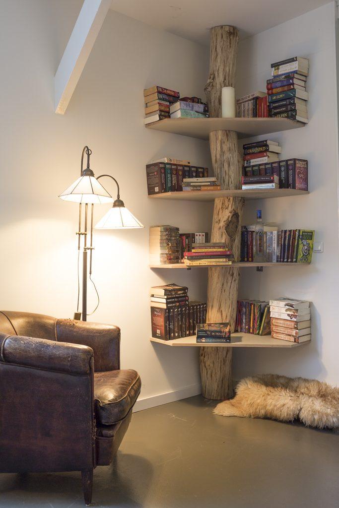 beautiful tree trunk four level corner bookshelf