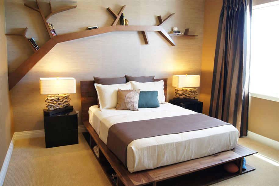 bedroom with bookshelf tree shape