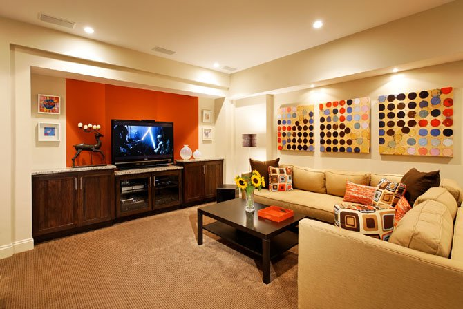 bright paint color for small basement