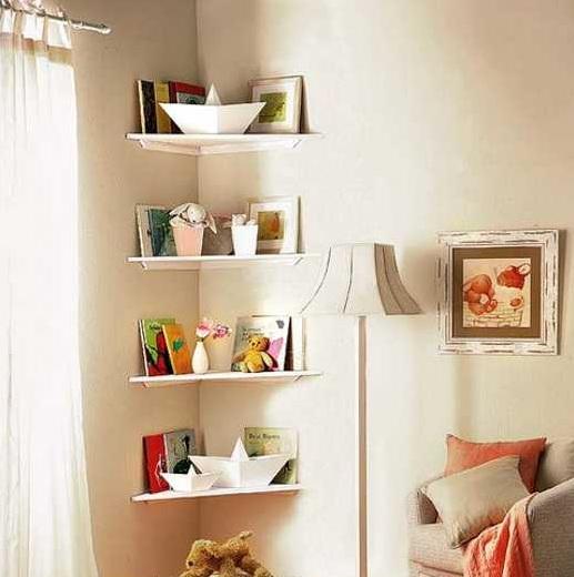 corner shelf for a small bedroom