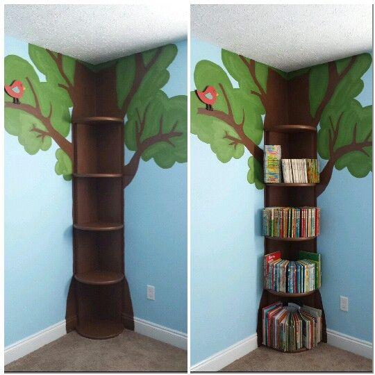 corner tree design bookshelf for kids room