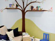 corner tree hand painted with bookshelf