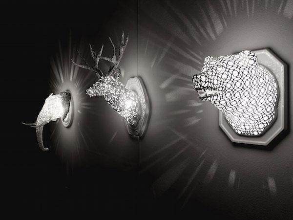 deer head wall light art decor