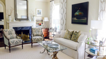 designer living room with Deborah Elmquist piece and Hickory Chair