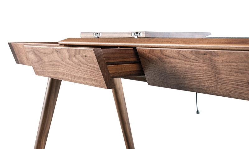 detail view of walnut metis desk from portugal