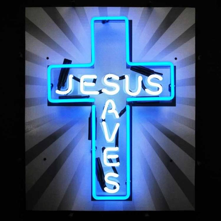 neon jesus saves wall light scrupture