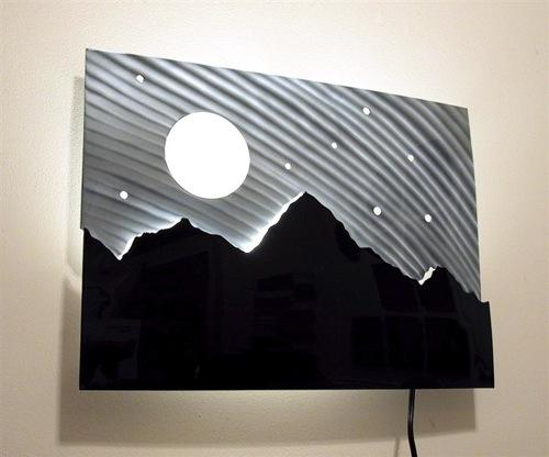 night view on mountain top light art
