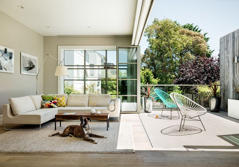 outdoor acapulco chairs with a dog