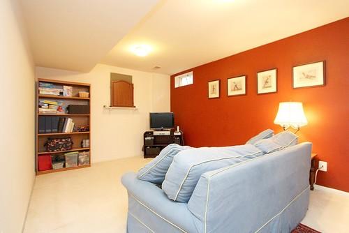 small basement bright orange color