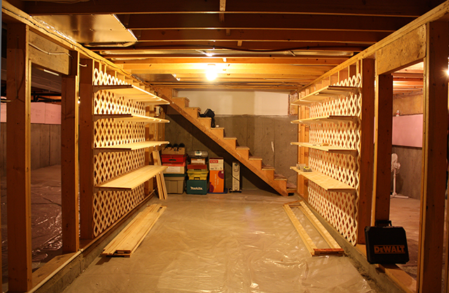 small basement storage shelves