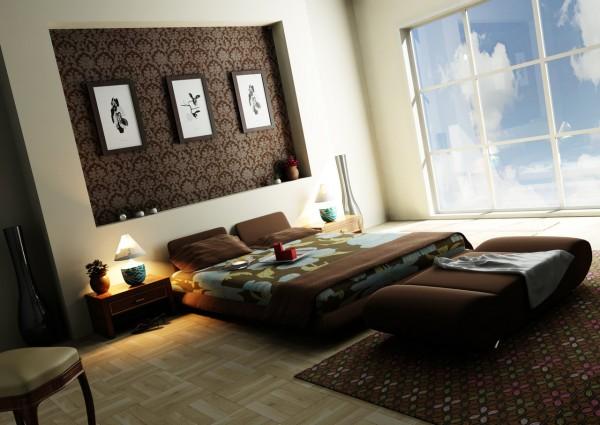 small bedroom dark color to make room bigger