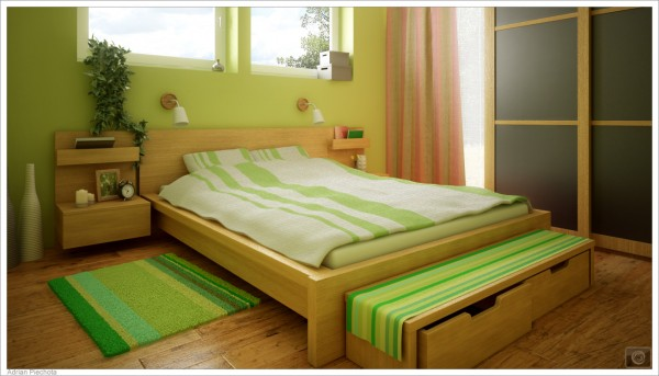 small bedroom using green color concept