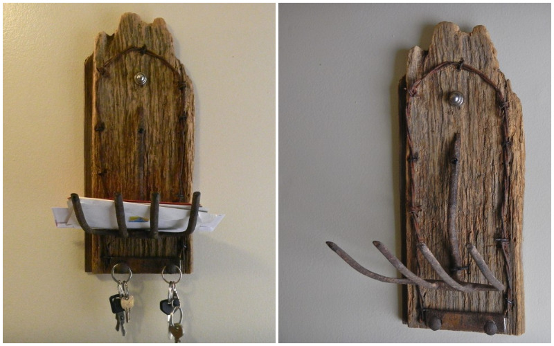 Antique mail holder from rustic wood with key holder