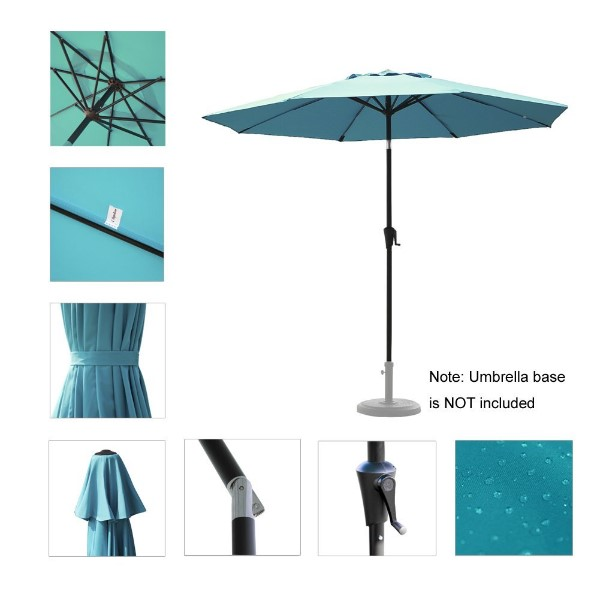 C-Hopetree 9 ft Aluminum Auto Tilt Market Umbrella for Patio Outdoor Table with 8 Wind Resistant Fiberglass Ribs & 250gsm Fade Resistant Polyester Turquoise