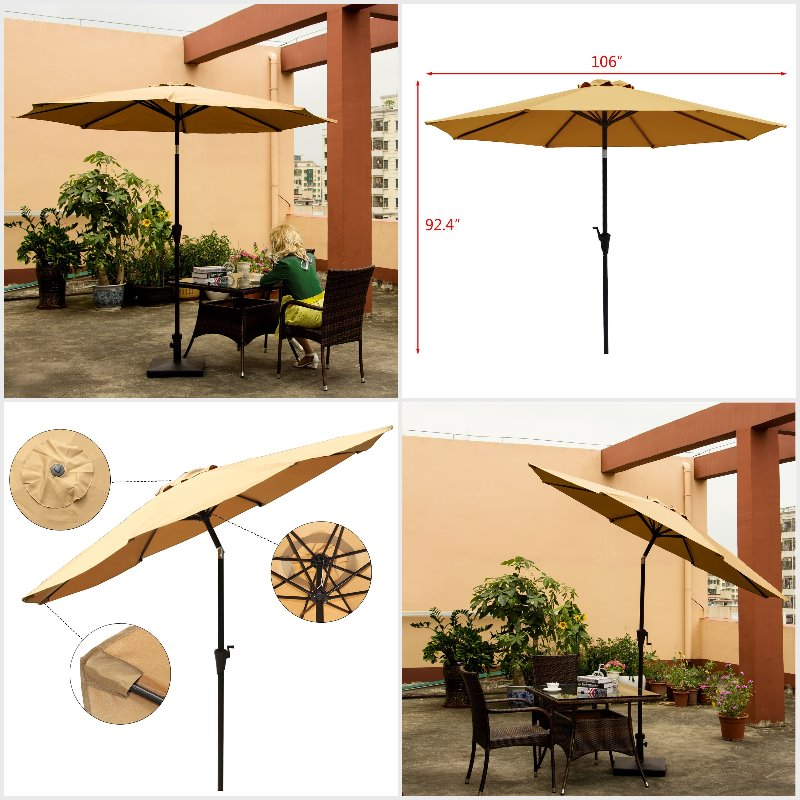 Ollieroo Patio Umbrella Tilt Aluminum 9FT Outdoor Market Umbrella With Crank 8 Steel Ribs and Wind Vent 100% Polyester Beige