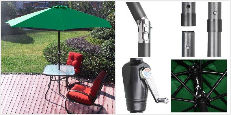 Sol Maya green 9 Ft table Patio Umbrella with Push Button Tilt and Crank