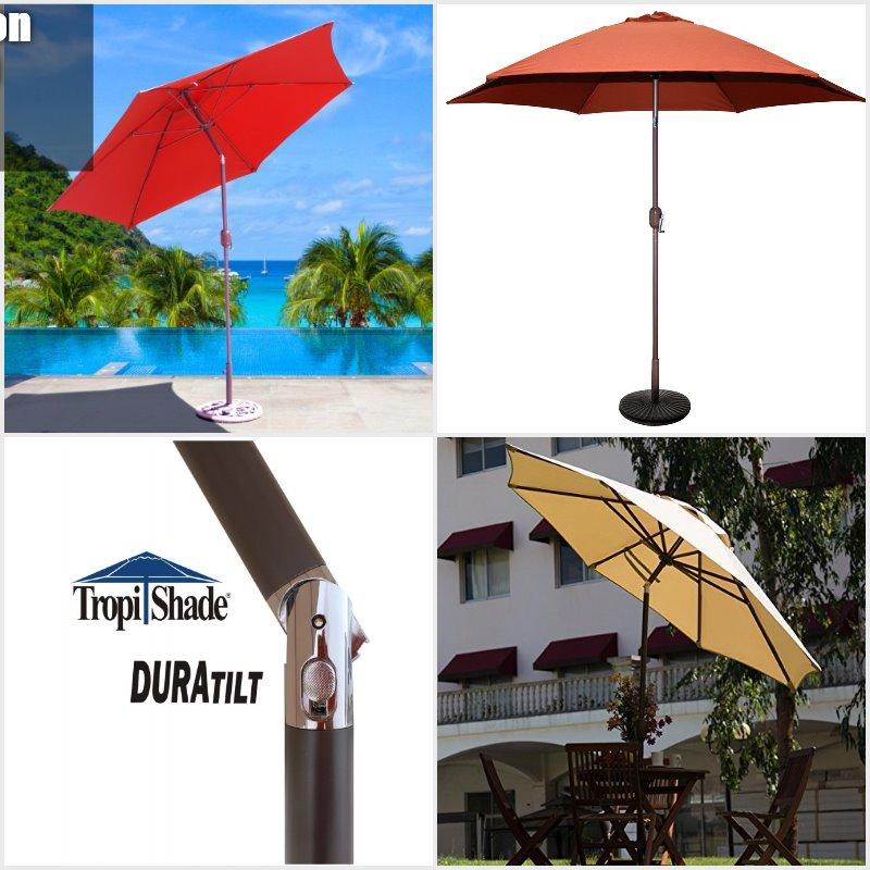 TropiShade 9 ft Bronze Aluminum Market Umbrella with Rust Polyester Cover