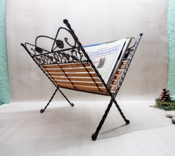 Wrought Iron and wood magazine rack on etsy