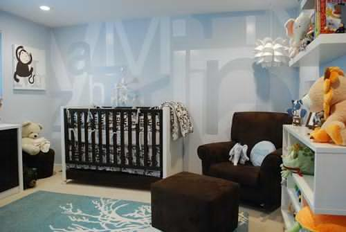baby boy room decoration idea with lots of soft toys