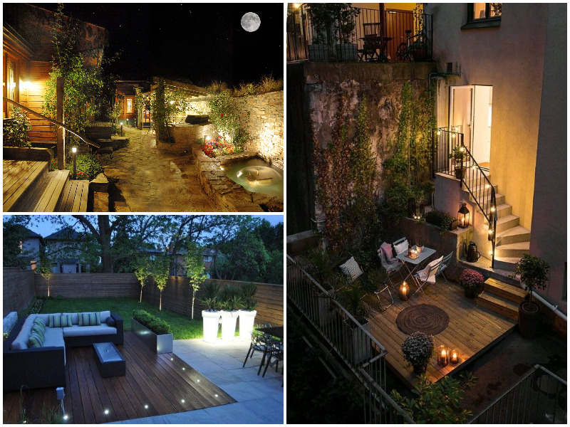 backyard private home at night with moonlight