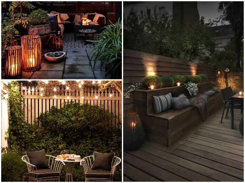 beautiful residential garden at night