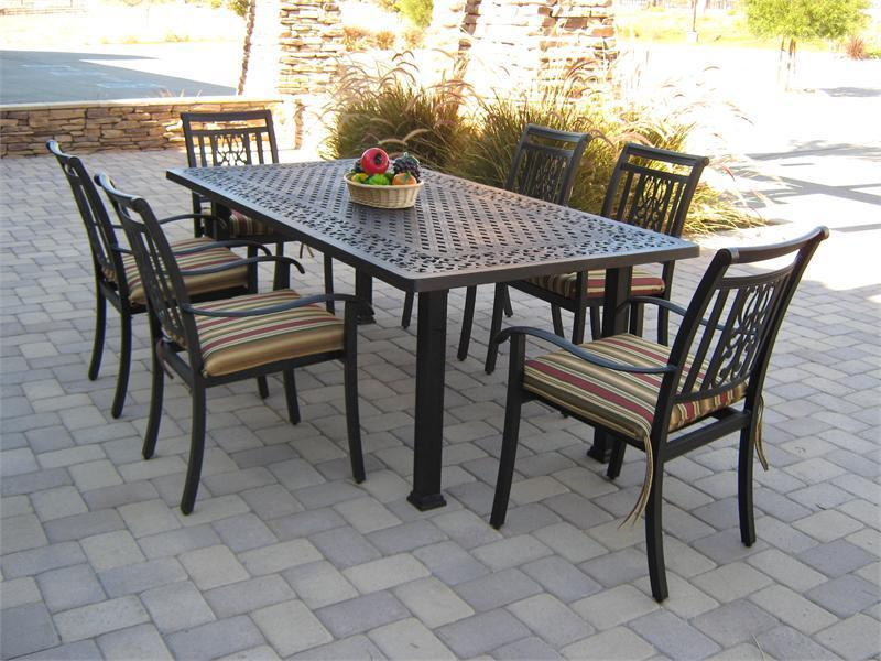 black metal rectangular dining table for outdoor