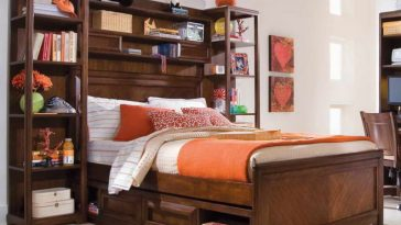 bookshelves on headboard wooden design