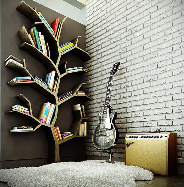 contemporary tree shaped bookshelf with guitar and fender amp